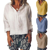 Womens V Neck Loose Long Sleeve Blouse Summer Casual T Shirt Tops Plus Size 5XL
