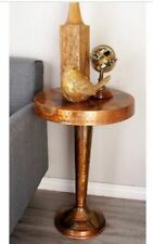 Rustic Copper End Table Round Pedestal Stand Vintage Side Accent Metal Furniture