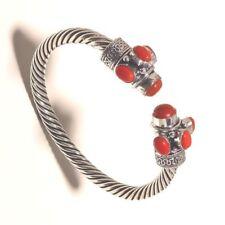 Coral Silver Overlay Bangel Cuff Braclet Handmade Jewelry
