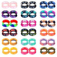 18Pairs Soft Thin Silicone Ear Skin Flesh Tunnels Plugs Gauges Earskin Earrings