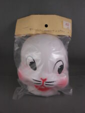 "NOS Easter Halloween White Pink Fabric Faced Rabbit Half Mask Doll Head 5"" RARE"
