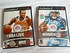 2X Playstation 2 PS2 Madden NF 08 & NBA LIVE 08  American BASEBALL/FOOTBALL GAME