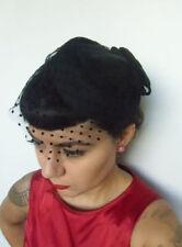 Mini chapeau bibi rétro vintage noir voilette de coquetterie plumetis pois pinup