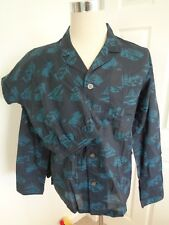 Derek Rose Pyjamas Navy Teal Mountain Patterned Cotton Pyjama Set Size M