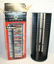 NEW Fellowes 100 Cassette Tape Spinner Carousel Storage Organizer Black Shelf