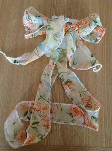 A Pretty Peach Floral Print Scarf/Tie On Head/Hair Band