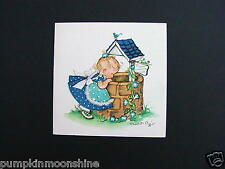 Unused Charlot Byj Byi Xmas Greeting Card, Little Girl Looking at a Wishing Well