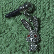 1 Cellphone 3.5mm Rhinestone Dust Plug Cute Silver Rabbit