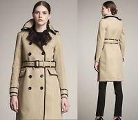 $3,995 Burberry Prorsum 14 16 48 Bound Edge Trench Coat Wool Jacket Women Lady B