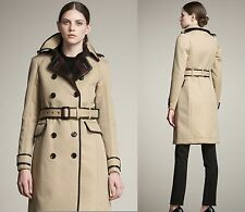 $3,995 Burberry Prorsum 12 14 46 Women Bound Edge Trench Coat Wool Jacket Gift B