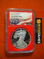 2017 W PROOF SILVER EAGLE NGC PF69 ULTRA CAMEO EARLY RELEASES FLAG LABEL RED