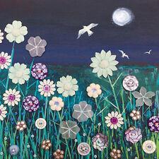Volando sobre Moonlight Cuadrada En Blanco tarjeta de felicitación por la artista Jo Grundy Tarjetas De Arte