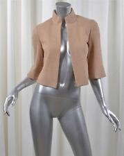 AKRIS Womens Beige Nude Wool Cotton Leather Trim 3/4-Sleeve Zip Jacket US4/F36