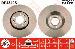 TRW Brake Rotor Front DF4849S fits Peugeot Expert 2.0 HDi 120 (88kw), 2.0 HDi...