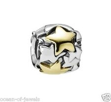 ORIGINALE PANDORA ALE s925 Sterling Silver Star 14ct Gold Charm #790563