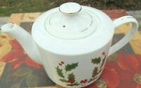 BRENDLES vintage 80's Porcelain Christmas Holly Berries White Tea Pot Japan