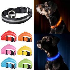 Luz collar de perro para mascota cachorro intermitente LED de seguridad ajustable oscuro resplandor de la batería