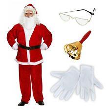 Professionnel Père Noël Complet Ensemble Costume Demi Lune Lunettes or Bell Gant