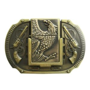 Eagle Guns Western Cowboy Bronze Plated Lighter Belt Buckle