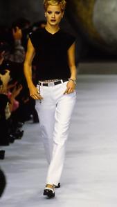 NWOT Auth. CHANEL '96 Collection White CC Logo Cotton Denim Jeans Pants 42
