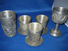 8 Antique German Embossed Solid Very Heavy Metal 5 Cups+3 Coasters 5 Lbs more