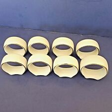 White Ceramic Napkin Ring Holders With Gold Trim Set Of 8 Footed Bottom No Brand
