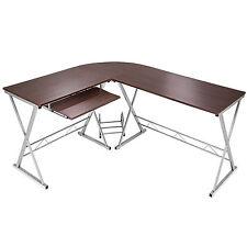Bureau Table à ordinateur en coin meuble d'angle PC poste de travail noyer