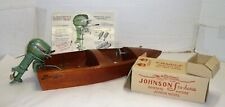 Vtg.Toy Johnson Seahorse 25 Hp Outboard Boat Motor,Box & Speed Liner Wood Boat