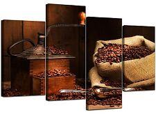 Large Brown Kitchen Canvas Wall Art Pictures 130cm XL Prints Set 4062