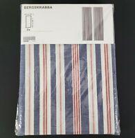 "IKEA Bergskrabba Curtains Pair Blue Red Stripes 57"" x 98"" New"