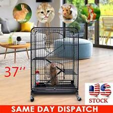 "37"" Movable Ferret Cage Rabbit Chinchilla Rat Cage Small Animal House 4 Levels"