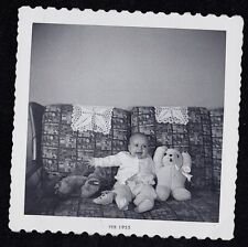 Vintage Antique Photograph Adorable Baby Sitting on Couch - Stuffed Bunny Rabbit