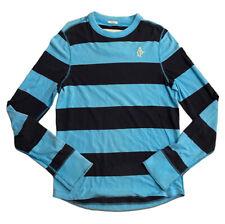 Abercrombie & Fitch Men's Crew Neck Blue Striped Large 100% Cotton