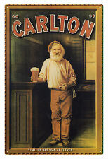 CARLTON BREWERY 'I allus has one at eleven' VINTAGE TIN SIGN 30 x 45 cm. [large]
