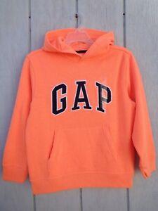NEW Gap Kids Arch Logo Hoodie Orange Boys Girls Hooded Fleece Sweater Coat L XL