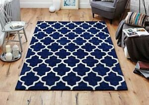 Arabesque Abstract Trellis design Navy Royal Blue Handcarved Wool Rugs Runners
