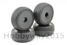 Pre-Glued 4pcs 1/10 Buggy On-Road Tire Black Dish For 1/10 4WD Buggy 25026+27007