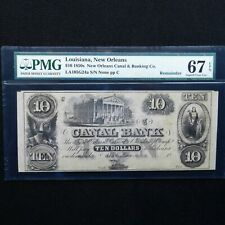 $10 1850s Canal Bank-New Orleans,Louisiana- PMG 67 EPQ Superb Gem Unc., Obsolete