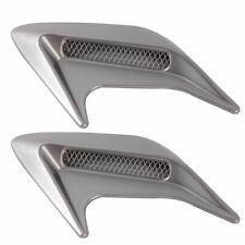 1 Pair Car Decorative Air Scoop Flow Intake Hood Vent Bonnet Universal Silver