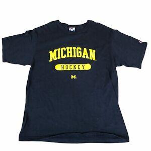 Vintage Champion Michigan T Shirt Blue Large Hockey