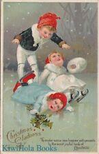 Postcard Christmas Gladness Children Ice Skating on Pond