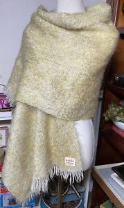 Unusual Vintage Lemon Scottish Mohair Wool Knit Large Shawl Scarf