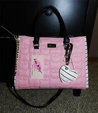 BETSEY JOHNSON Pink LOVE CAT Faux LEATHER Quilted STRIPE Tote SATCHEL Bag NWT