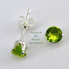 STERLING SILVER 925 Sparkle-Cut PERIDOT Green 4mm Post Stud Earrings NEW