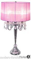 NUOVO Crystal delle gocce 4 Luce Comodino Lampada Rosa, da comodino Tonalità Rosa Chiaro