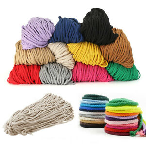 100yards Colored Braided Macrame Cord Cotton Rope String Craft Supplies 90m 5mm
