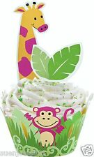 Jungle Pals Animal Safari Cupcake Wraps'n Pix Combo Picks Baking Cups Decoration