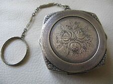 Antique Art Deco Silver T Engraved Rose Repousse Floral Dance Compact 1920s