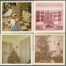 Lot of 4 Vintage Color Photos Christmas Tree & Gifts in Home Interior 654075