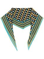Etro Geometric Stripe Silk Twill Neck Scarf